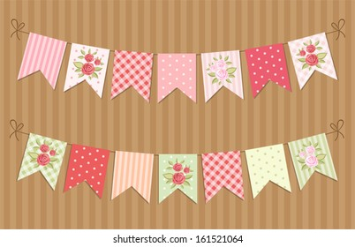 Festive vintage garlands with roses in shabby chic style
