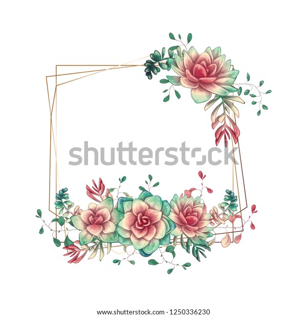 Festive Wedding Frames Colorful Succulents Beautiful Stock Vector Royalty Free 1250336230