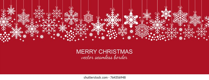 Festive white seamless snowflake border isolated on red background, Christmas design for postcard or greeting card. Vector illustration, merry xmas snow flake header or banner, wallpaper or backdrop