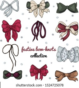 Festive winter bow-knots collection in red, gold, grey and green isolated on white for custom design.  Vintage style. Pacifico OFL font is used.