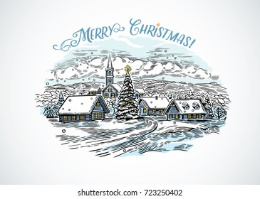 Festive winter countryside landscape. Vector illustration drawing  imitating the engraving.