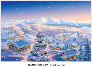 Festive winter landscape with a village in the background and  in the foreground. It illustration can be used as a Christmas holiday card.