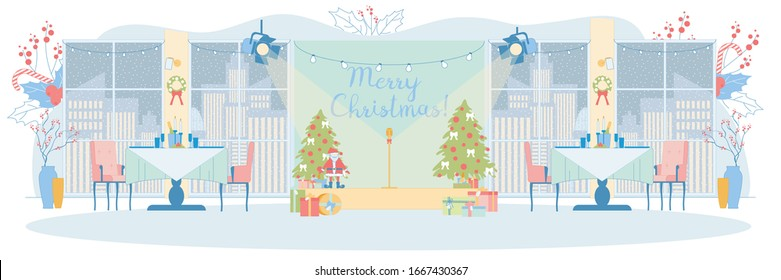 Festively Decorated Banqueting Hall. Stage with Microphone, Christmas Trees, Santa Clause Toys, and Gift Boxes. Laid Tables with Candles and Sparkling Wine. Windows Facing Big City with Snowy Weather.