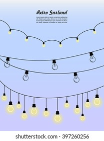 Festoon party lights. Garlands with retro lamps of different types. It can be used as a decoration of your layout. Frame or border on your invitation to the wedding in the rustic style or retro party.