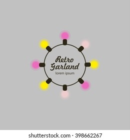 Festoon party lights logo. It can be used if you make handmade retro garland or organize weddings and parties in the rustic style.