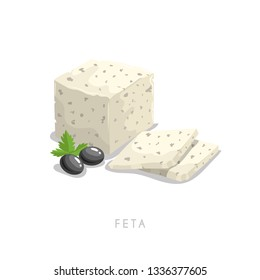 Feta soft cheese. Greek traditional cheese with parsley leaves and black olives composition. Cartoon flat style fresh diary traditional product. Vector illustration icon isolated on white background.