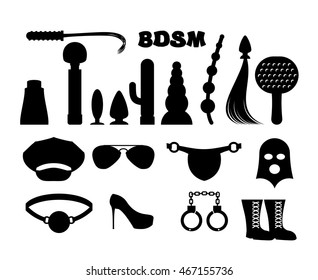 fetish sign. Sex icons for BDSM. Sextoys for xxx. Knut and gag. Leather whip and cap. Vibrator and dildo. mask and Paddles. Handcuffs and anal tube