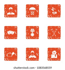 Feud icons set. Grunge set of 9 feud vector icons for web isolated on white background