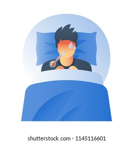 Fever concept, high temperature thermometer, sick sweating person, catch a cold, flue virus, influenza symptoms, feeling ill, hot head, immunity resistance, vector icon, flat illustration