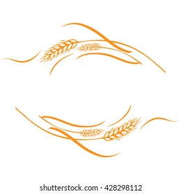 A few gold ripe wheat ears as frame, corner or border design element.