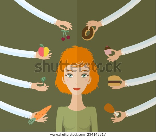 A few hands offers women a healthy and junk food. Flat style, vector illustration