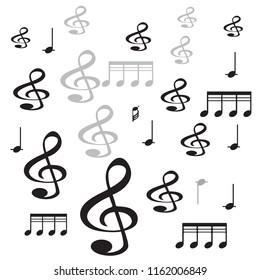 few music symbols with white background