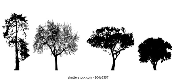 Few silhouette of tree in a row(vector, illustration )