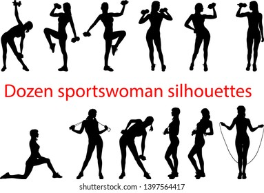few silhouettes A young girl with a slim figure plays sports with dumbbells and a skipping rope