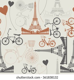 Фотообои Few symbols of France as endless pattern. Stylish pattern can be used for linen, tile, wallpaper, design fabric, cover, greeting card and more creative designs.