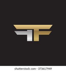 FF company linked letter logo golden silver black background