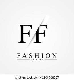 FF F F cutting and linked letter logo icon with paper cut in the middle. Creative monogram logo design. Fashion icon design template.
