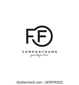 FF Initial letter logo inside circle shape inside rounded black monogram