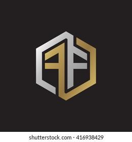 FF initial letters loop linked hexagon elegant logo golden silver black background
