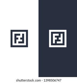 FF letter logo monogram black white