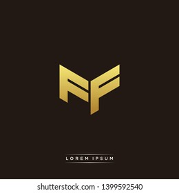FF Logo Letter Initial Logo Designs Templete with Gold and Black Background