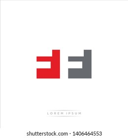 FF Logo Letter with Modern Negative space - Red and Grey Color EPS 10