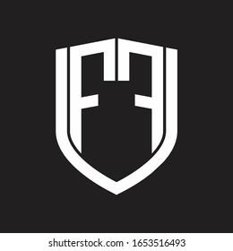 FF Logo monogram with emblem shield design isolated on black background