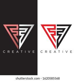 FF triangle logo design vector icon monoline