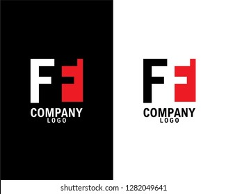 ff/f Initial abstract company Logo Design with negative space. company logo template vector