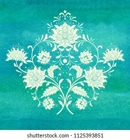 Ffloral element of pattern for your design. Imitation of chinese porcelain painting. Green seamless watercolor background. Hand drawing