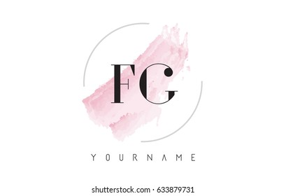FG F G Watercolor Letter Logo Design with Circular Shape and Pastel Pink Brush.