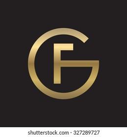 FG or GF letters, golden circle G shape