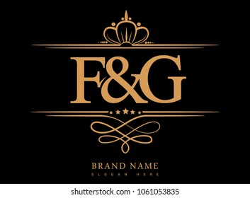 F&G Initial logo, Ampersand initial logo gold with crown and classic pattern