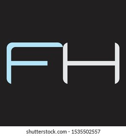 FH Abstrac logo vector Monogram isolated on black background