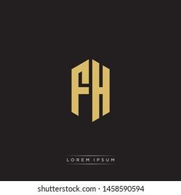 FH F H Logo Emblem Capital Letter Modern Template EPS 10 With Black Background