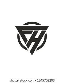 FH HF Triangle Logo Vector Design