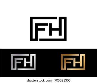FH initial box shape Logo designs template