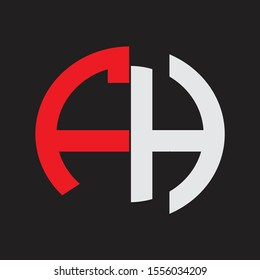 FH Initial Logo design Monogram Isolated on black background
