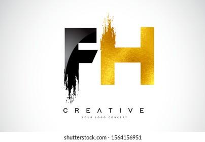 FH Letter Design with Black Golden Brush Stroke and Modern Look Vector Illustration.