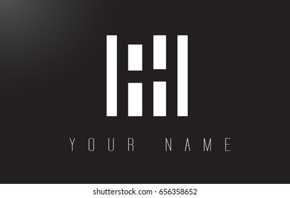 FH Letter Logo With Black and White Letters Negative Space Design.
