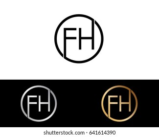 Fh Logo. Letter Design Vector with Red and Black Silver, Gold  Colors