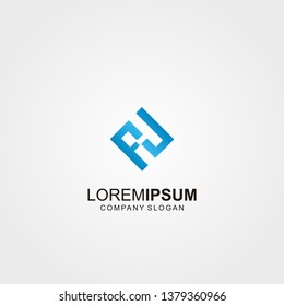 FH Logo Letter Initial With Black and Light Blue Colors - Vector