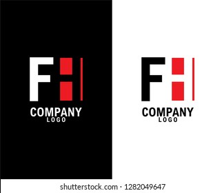 fh/hf Initial abstract company Logo Design with negative space. company logo template vector