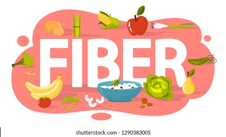 Fiber food concept. Idea of healthy nutrition and diet. Food rich fiber, beans and rice, broccoli and apple. Isolated vector illustration in cartoon style