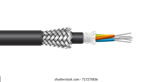 Fiber optic cable with braided armored shield structure isolated on white background. Vector realistic illustration.