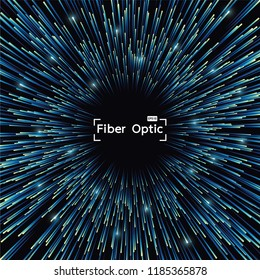 Fiber Optic of glowing backgrounds internet communication concept, Abstract data science flow tunnel. Vector illustration