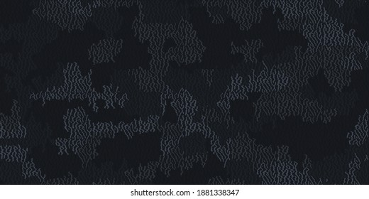 Fiber seamless camo texture. Weave pattern thread. Urban camouflage textile. Yarn rough knit background. Vector wallpaper urban camouflage textile