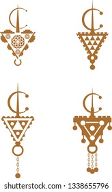 Fibula, berber jewellery symbol illustration, north african culture, isolated on a white background - Images vectorielles