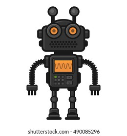 Fiction Robot on White Background. Vector