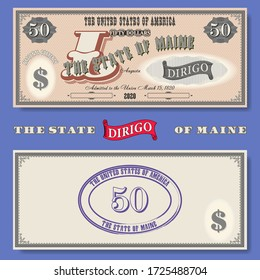 Fictional $ 50 dedicated to the state of Maine. Motto on latin I direct. Guilloche patterns. Purple seal EPS10